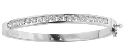 3.00 Ct. TW Channel Set Round Diamond Bangle Bracelet in 14 kt. White Gold