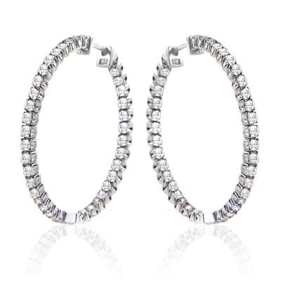 2.75 Ct. TW Round Diamond Inside-Outside Hoop Earrings