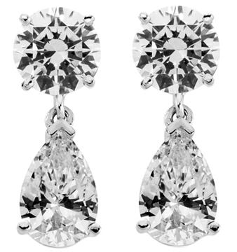 4.00 Ct. TW Round & Pear Shape Diamond Drop Earrings in 14 kt. Post Back Mounts