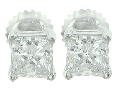 2.02 Ct. TW Princess Cut Diamond Stud Earrings in Screw Back Mounts