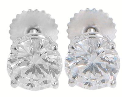 2.06 Ct. TW Round Cut Diamond Stud Earrings in Screw Back Mounts