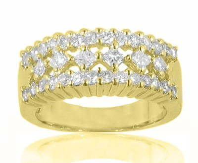 2.20 Ct. TW Round and Princess Cut Diamond Anniversary Band Yellow Gold