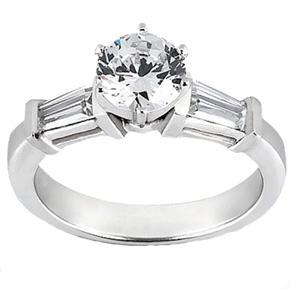 1.32 ct. TW Round and Baguette Cut Diamond Engagement Ring