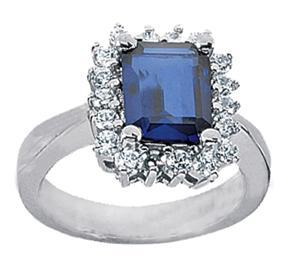 6.95 ct. TW Emerald Cut Blue Sapphire in Diamond Accented 14 kt. White Gold Ring