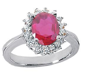 2.70 ct. TW Oval Shape Ruby and Round Diamond Ring in 14 kt White Gold