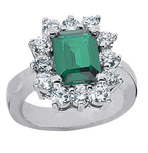 4.95 ct. TW Green Emerald in Diamond Accented 14 kt. White Gold Ring