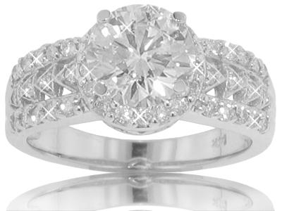 1.80 CT TW Round Cut Diamond Engagement Ring