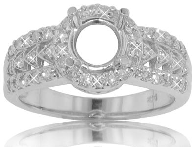 0.75 ct. TW Round Diamond Halo Engagement Semi Mount
