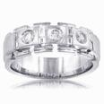 1.75 Ct. TW Men's Round and Baguette Diamond Wedding Band