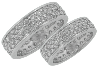 5.00 ct ttw His & Hers Round Diamond Two Row Eternity Wedding Bands in 14 kt