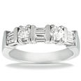 1.50 ct. TW Round and Baguette Diamond Wedding Band