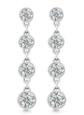 1.50 Ct. TW Lady's Round Cut Shape Diamond Drop Earrings in 14 kt
