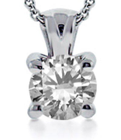 0.41 Ct. TW Round Cut Diamond Solitaire Pendant in 14 kt. With 18