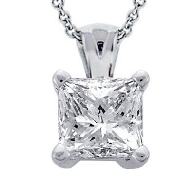 0.45 Ct. Tw Princess Cut Diamond Solitaire Pendant in 14 Kt. With 18