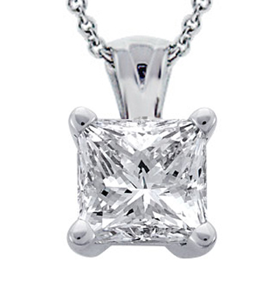 0.27 Ct. Tw Princess Cut Diamond Solitaire Pendant in 14 Kt. With 18