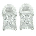0.54 Ct. TW Princess Diamond Stud Earrings in Screw Back Mounts