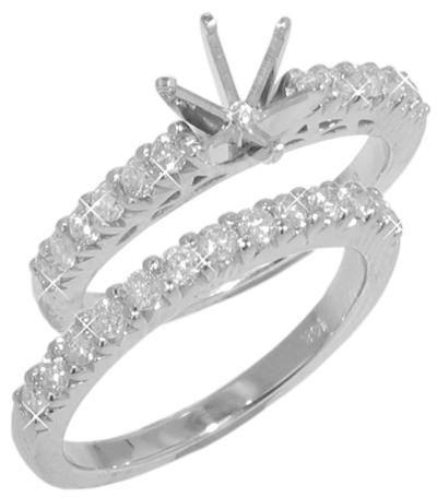 0.95 ct  TW Round Diamond Engagement Mount with Wedding Band