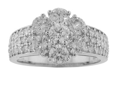 2.30 Ct. TW Ladies Round Diamond Cluster Anniversary Ring