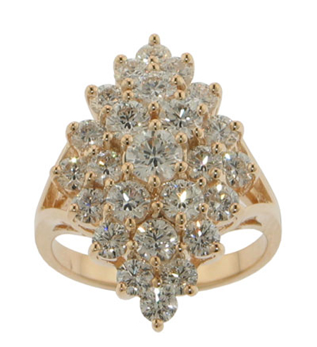 3.00 ct. TW Round Cut Diamond Anniversary Cluster Yellow Gold Ring