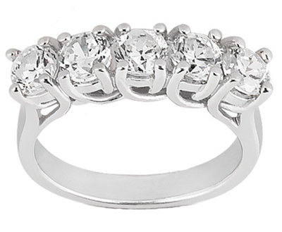 1.25 ct. TW Round Diamond Five Stone Wedding Band