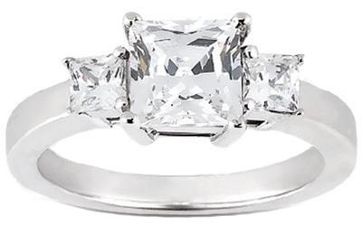 1.60 ct. TW Princess Cut Three Stone Diamond Ring