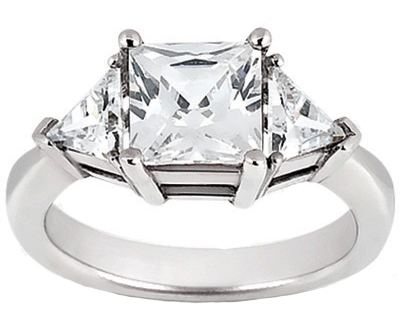 1.70 ct. TW Princess and Trillion Cut Diamond Three Stone Ring
