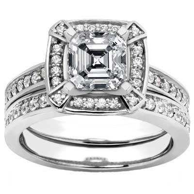 1.70 ct. TW Asscher Cut Diamond Engagement Ring Set