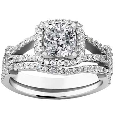 2.15 ct. TW Cushion Diamond Engagement Ring Set with Form Fit Band