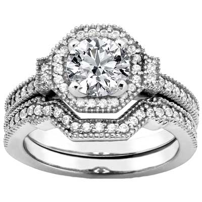 1.85 ct. TW Round Diamond Engagement Ring with Form Fit Matching Band