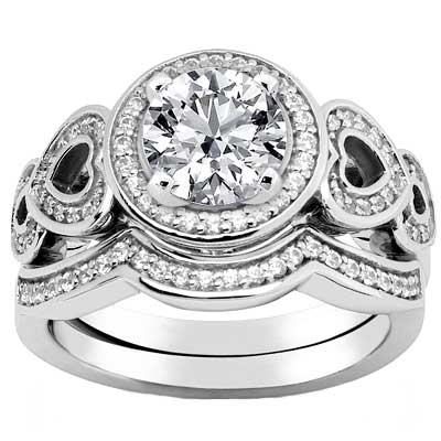 2.04 ct. TW Round Diamond Engagement Ring with Form Fitting Wedding Band