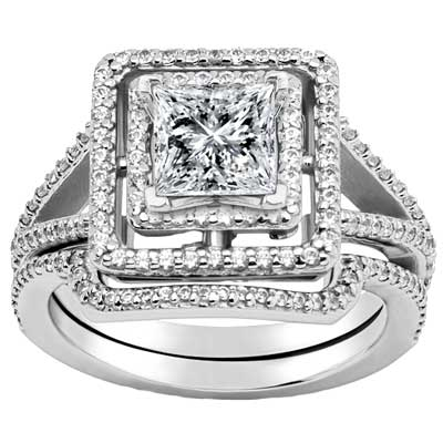 2.35 ct. TW Princess Diamond Engagement Ring Set with Matching Wedding Band
