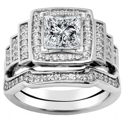 2.45 ct. TW Princess Diamond Engagement Ring Set with Form Fit Band