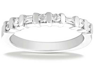 0.40 ct. TW Round and Baguette Cut Diamond Wedding Band