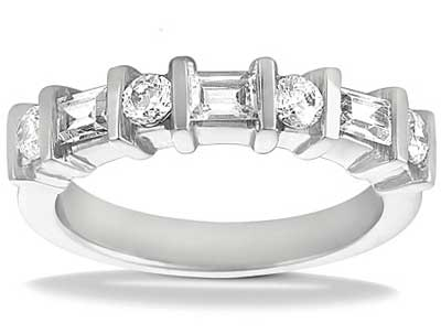 1.00 ct. TW Round and Baguette Cut Diamond Wedding Band