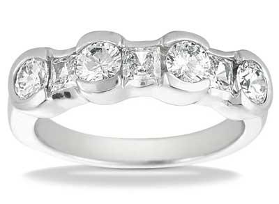 1.50 ct. TW Round and Princess Cut Diamond Wedding Band