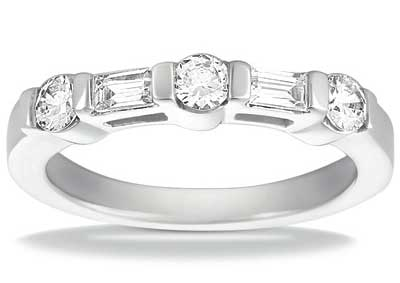 0.75 ct. TW Round and Baguette Cut Diamond Wedding Band