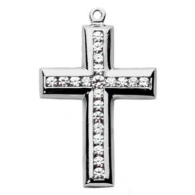 2.00 ct. TW Channel Set Round Diamond Cross Pendant