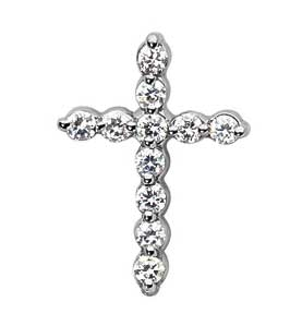 0.55 ct. TW Round Diamond Cross Pendant with Shared Prong