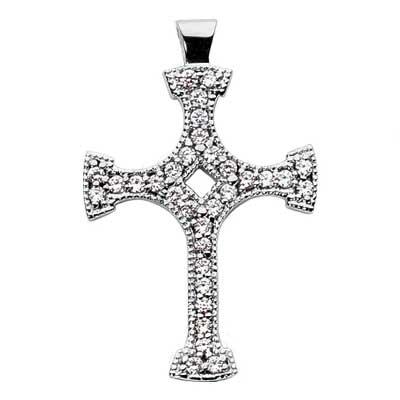 0.65 ct. TW Round Diamond Fancy Cross Pendant