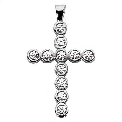 1.10 ct. TW Bezel Set Round Diamond Cross Pendant