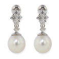 Natural 11 mm Pearl and 1.00 ct Diamond Accent 14 kt White Gold Drop Earrings