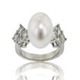 Ladies 0.80 ct Diamond Pearl Anniversary Ring in 14 K White Gold Mount