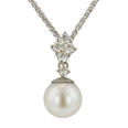 Ladies 11 mm Natural Pearl and 0.50 ct Diamond Pendant in 14K White Gold